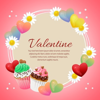 Valentine card with love and colorful cupcakes