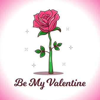 장미 일러스트와 함께 발렌타인 데이 카드
