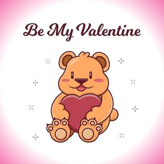 테디 베어 일러스트와 함께 발렌타인 데이 카드