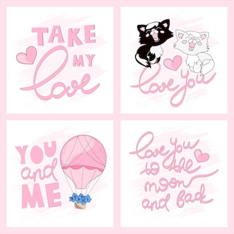 Valentine cards greeting cartoon vector illustration set