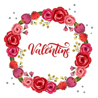 Valentine circle rose wreath