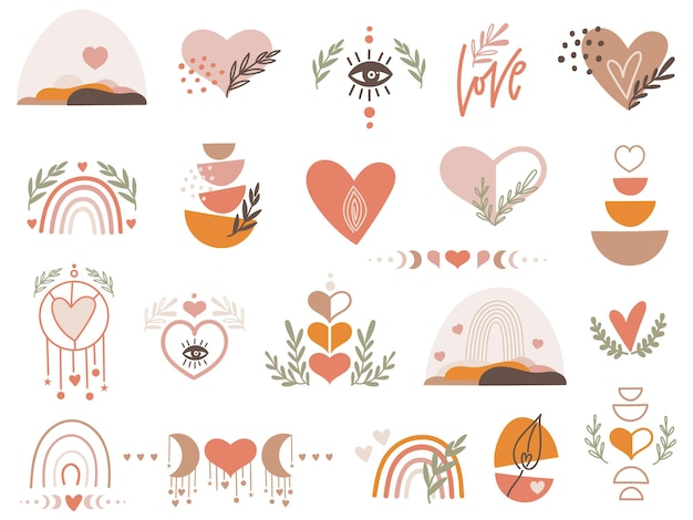 Valentine clipart set with hearts.