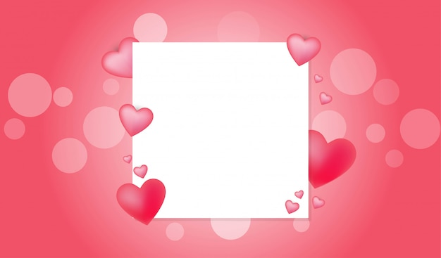 Valentine concept with white card copy space