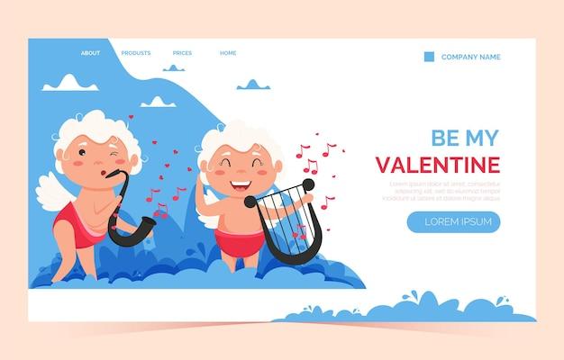 Целевая страница ангела любви купидона валентина. милый мальчик или девочка купидон.