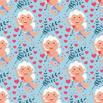 バレンタインキューピッド愛の天使のシームレスなパターン。かわいい男の子または女の子のキューピッド。空飛ぶ天使は心の封筒を保持するのが大好きです。恋人のキューピッド。休日の男の子のキャラクター。心を込めて飛んで、弓を撃ちます