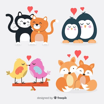 Valentine cute animal couple pack