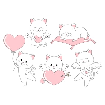 Valentine cute cat with many pose