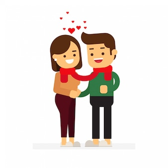 Valentine cute couple standing on white background
