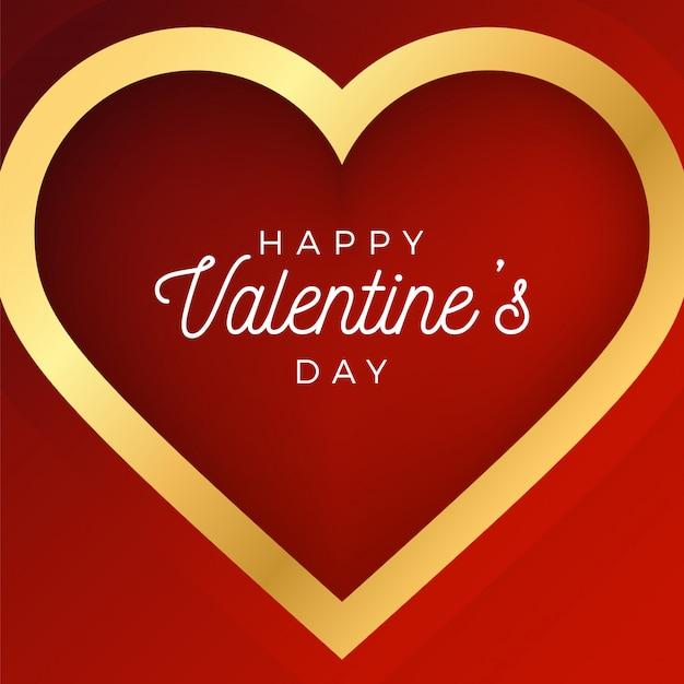 День святого валентина абстрактный фон с красным и золотым контуром сердца.