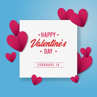 Valentine day abstract cut paper background