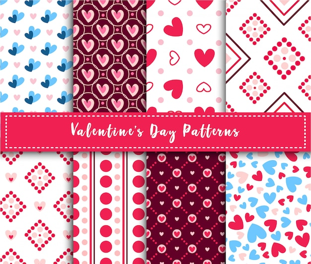 Valentine day abstract seamless pattern set - cartoon pink and blue hearts on white, stripes, geometric shapes
