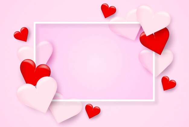 Valentine day background .  design with heart on pink background.