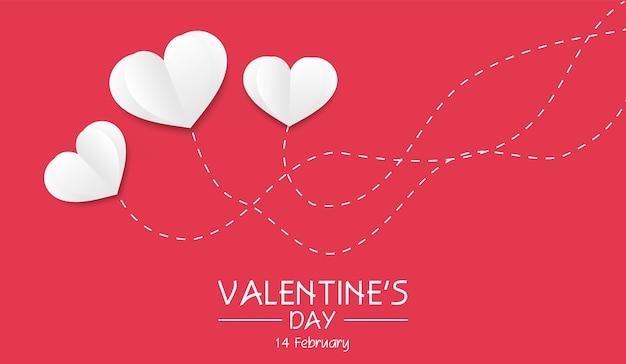 День святого валентина фон с белым сердцем и пунктирными линиями
