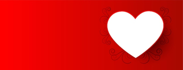 Valentine day background with white heart Free Vector