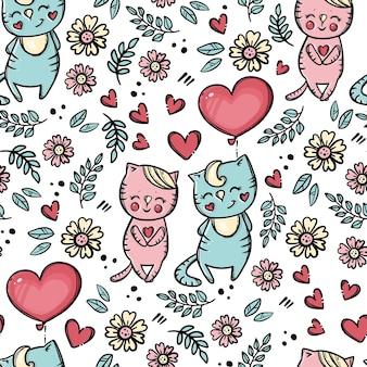 バレンタインデーの風船風船でかわいい子猫は恋人に彼の心を提供します漫画の動物手描きのシームレスなパターン