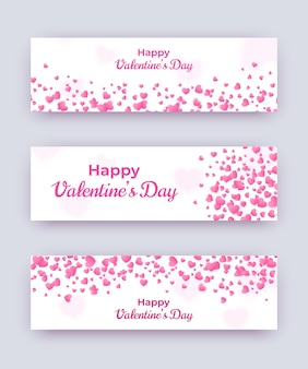 Valentine day banner set. white love coupons with pink hearts and happy text. vector horizontal women day illustration, wedding card, gift coupon, voucher template.