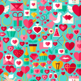 Valentine day blue seamless pattern. flat design vector tile background. love holiday.