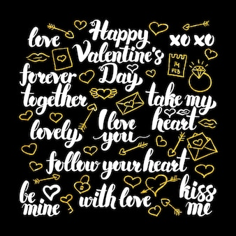Valentine day calligraphy design. vector illustration of love holiday lettering.