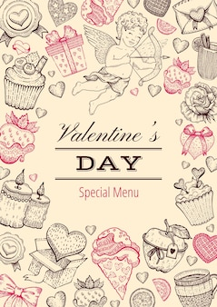 Valentine day card menu. dinner background. sketch love restaurant food menu.