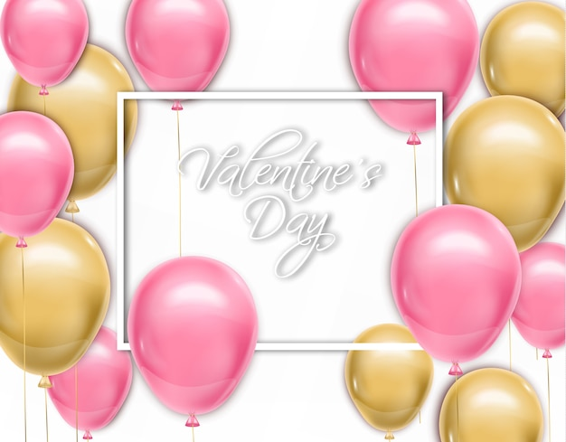 Valentine day card with balloons