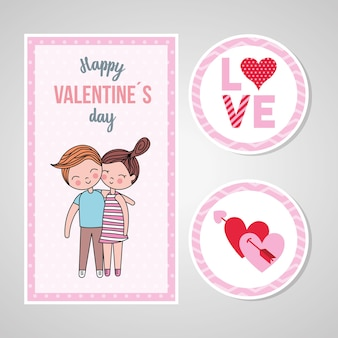 Valentine day card with couple in love and stickers.