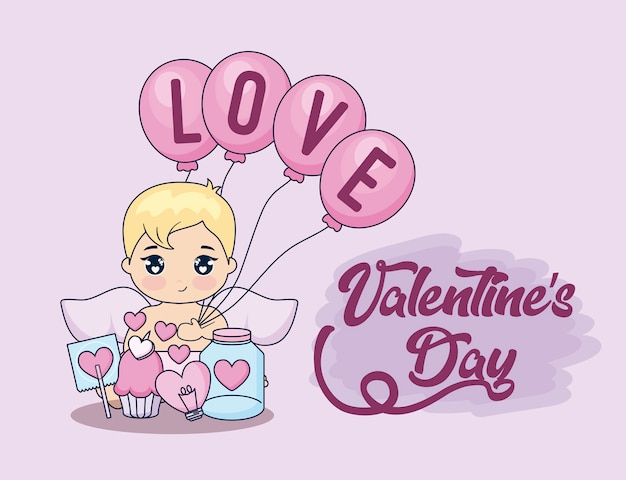 Valentine day card with cupid and set icons