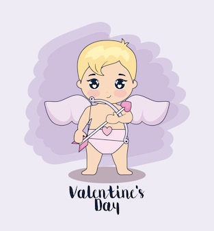 Valentine day card with cupid
