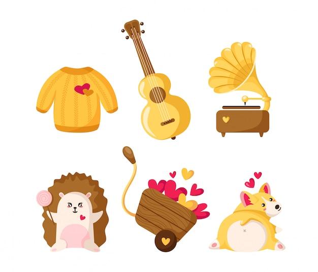 Valentine day cartoon corgi puppy, hedgehog, sweater, cart with hearts, gramophone