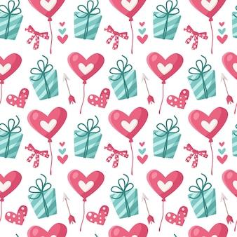 バレンタインデーの漫画のシームレスなパターン-バルーン、ギフトボックス、矢印、ハート、包装紙