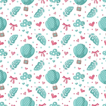 Valentine day cartoon seamless pattern - cute hot air balloon, bow, feather and heart, nursery digital paper in pink and peppermint color, background for kids textile, scrapbooking, wrapping paper