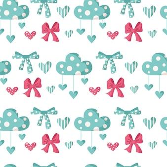 バレンタインデーの漫画のシームレスなパターン-かわいい子供たちのバレンタインの弓、雲、ハート