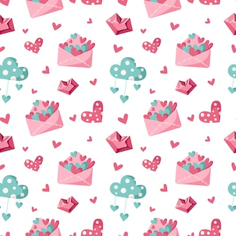 Valentine day cartoon seamless pattern - cute valentine letter, cloud and heart, nursery endless digital paper in pink and peppermint color, background for textile, scrapbooking, wrapping paper