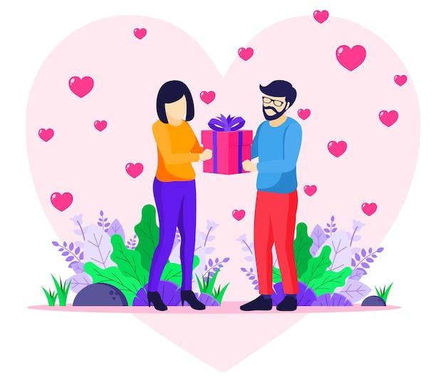 バレンタインデーのお祝い、愛情のある男性は女性に贈り物をします。カップルはバレンタインデーのイラストを祝っています