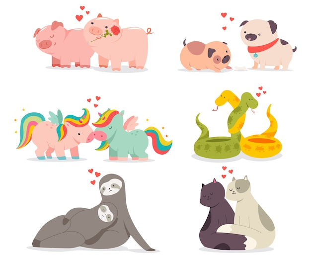 Valentine day concept illustration with cute animals in love cartoon characters set