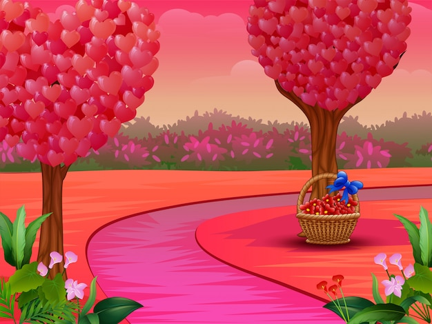 Valentine day concept with heart tree on nature