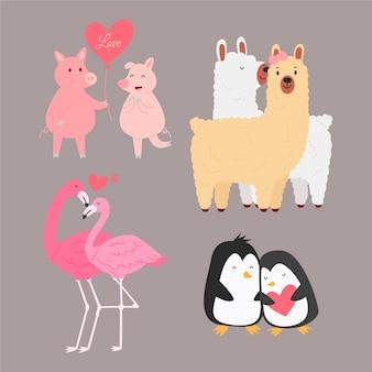 발렌타인 데이 귀여운 동물 커플