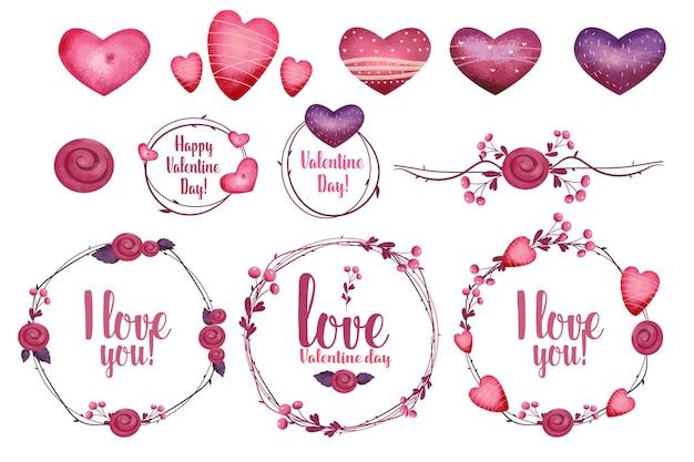 バレンタインデーのデザイン要素セット