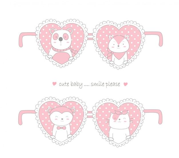 귀여운 동물 만화 손으로 그린 스타일 발렌타인 데이 디자인