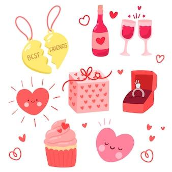 バレンタインデーの要素コレクション