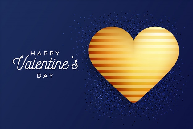 Valentine day flyer classic blue background with gold heart on glitter.