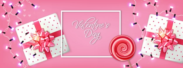 Valentine day gift boxes and lights garland