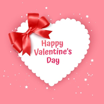 Valentine day gift card holiday love heart shape illustration with realistic bow