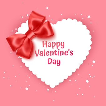 Valentine day gift card holiday love heart shape  illustration with realistic red bow