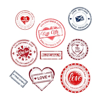 Valentine day gift card holiday love sticker stamp collection