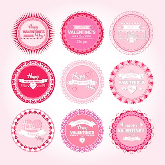 Valentine day gift card holiday love sticker stamp set