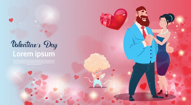 Valentine day gift card holiday lovers couple love cupid heart shape