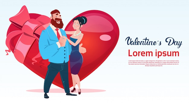 Valentine day gift card holiday lovers couple love heart shape