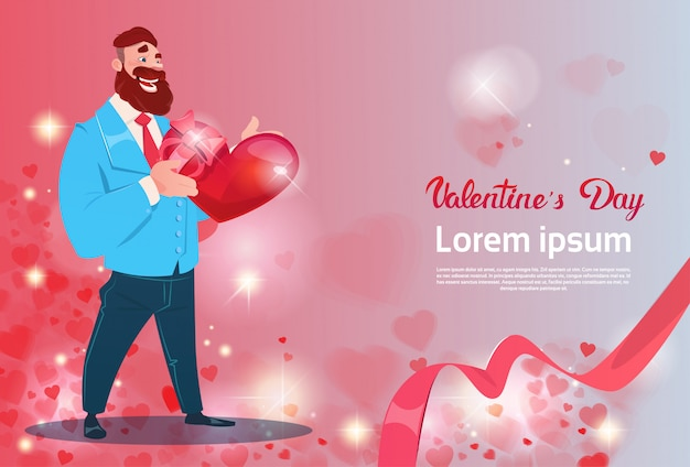 Valentine day gift card holiday man with love heart shape