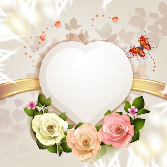 Valentine day gift card with heart and flower