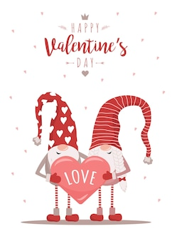 Valentine day greeting card with gnomes in red hats with heart